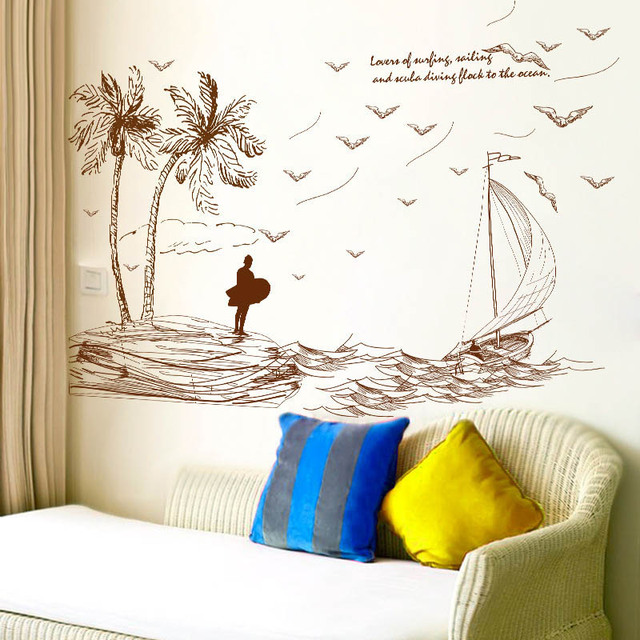 2017 Palm Island Scenery Sea Wave Ship Wall Sticker Art Decal PVC