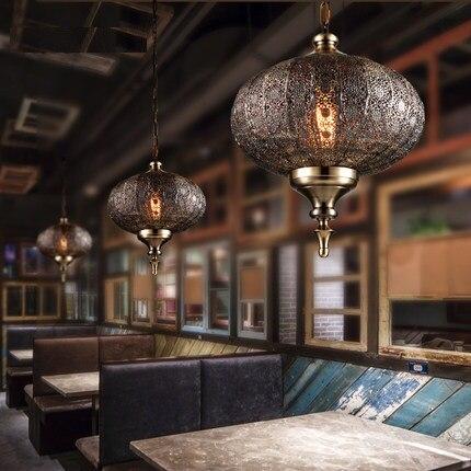 Loft Style creux fer Droplight industriel Vintage pendentif LED luminaires salle à manger suspension lampe décor intérieur éclairage - 5
