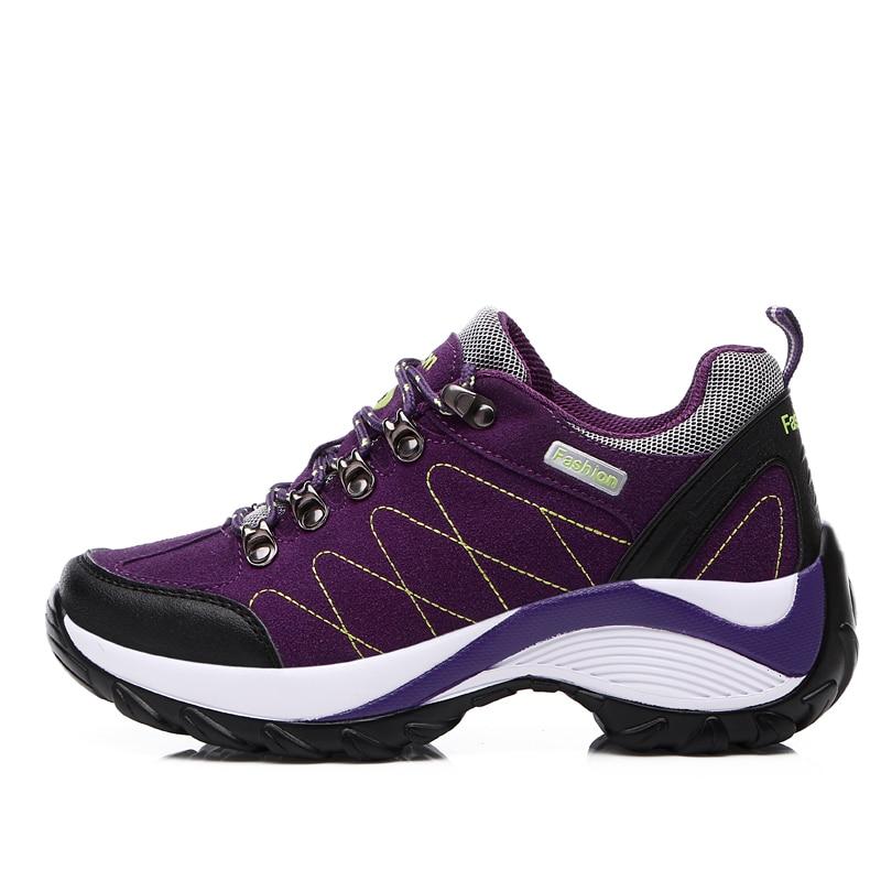 2016 Waterproof Hiking Shoes Women RedBlack Height Increasing Climbing  Mountain Shoes Women Leather Outdoor Hiking Bootsin Hiking Shoes from  Sports
