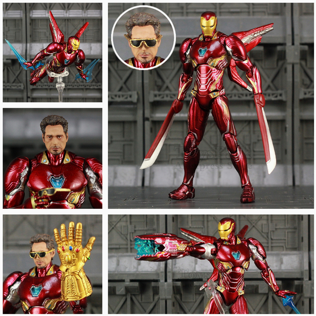 Iron Man Action Figure Mark 50 Version 2 with Infinity Gauntled 6inch