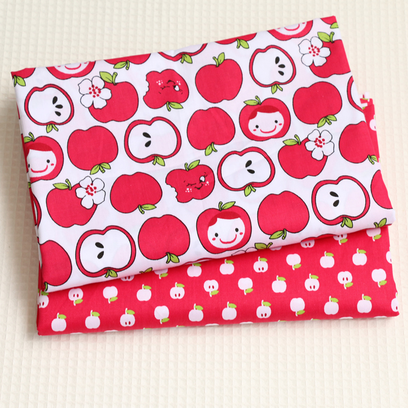 Cotton Fabric Printed Fabrics Patchwork For Sewing Quilt Scrapbooking Tissue Pattern Needlework Material Curtain Cloth Apple Set