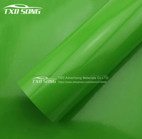 1.52*30M(5FTX98FT) GLOSSY GREEN VINYL WRAP FILM WITH AIR FREE BUBBLES BY FREE SHIPPING