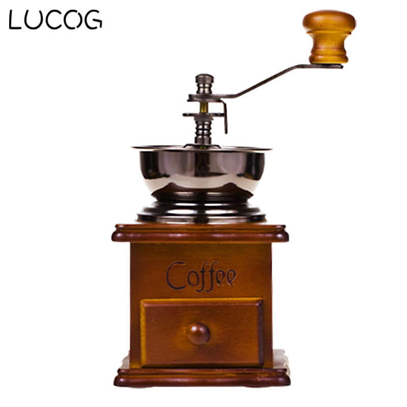 LUCOG Manual Wooden Coffee Grinder Hand Coffee Beans Grinding Machine Portable Burr Mill With High-quality Ceramic Millstone manual coffee bean grinder retro wooden design mill maker grinders retro coffee spice mini burr mill with high quality ceramic m