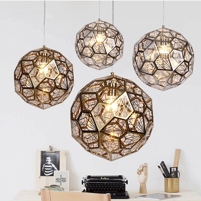 Modern Gold Copper Silver Etch Web Pendant Lights Stainless Steel Diamond Polygon Pendant Lamp For Living Room