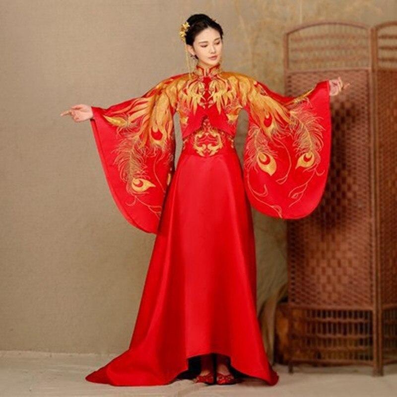 2018 новые красные узор невесты шоу зерна восстановление древних способов Феникс невесты тосты Вечернее платье костюм с хвостом Cheongsam