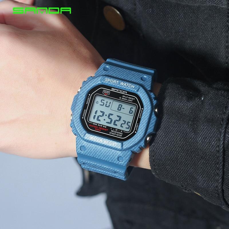 2018 New Denim SANDA Sport Digital Watch G Style LED Mens Watches Waterproof Shock Resist Clock relogio masculino esportivo