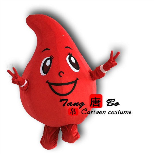 Red Drop Of Blood Mascot Costume Cartoon Fancy Dress For Public
