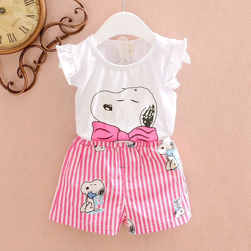 Cool Stylish stripe print Baby Girl Clothes Cute Dog ...