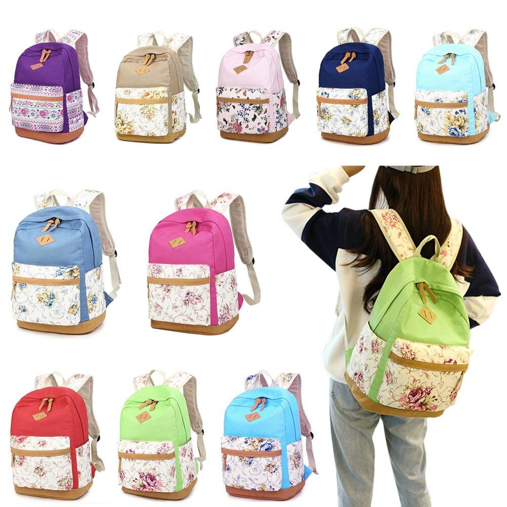 Casual Bookbags Canvas Printing Backpack Sets Cute Floral Mosaic Wind Backpacks For Teenage Girls Shoulder Bag