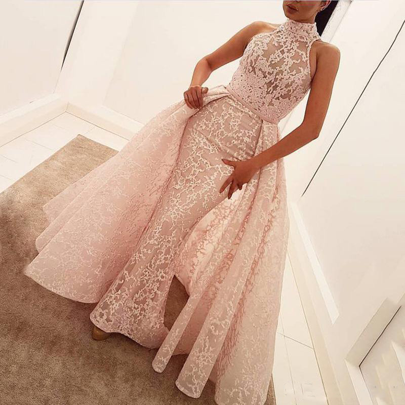 2019 Modern Sheath Evening Dresses Sleeveless Pink Lace High Neck Party Gowns Detachable Train Celebrity Arabic Prom Dresses