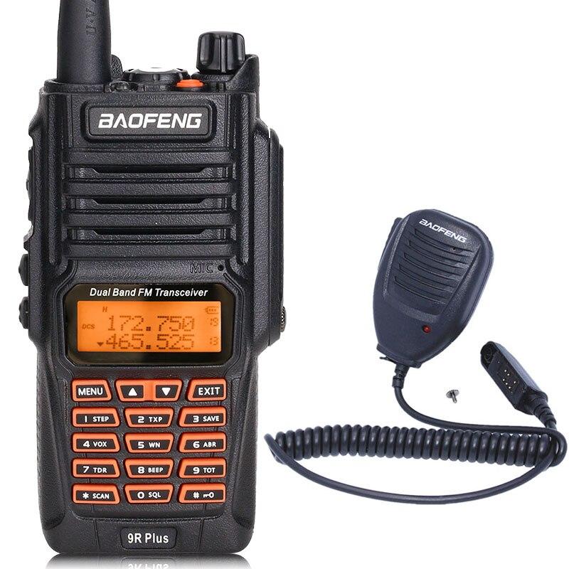 BaoFeng UV-9R Plus Водонепроницаемая портативная рация 8 Вт UHF VHF Двухдиапазонный IP67 HF трансивер UV 9R Ham портативное радио - Цвет: add speaker mic