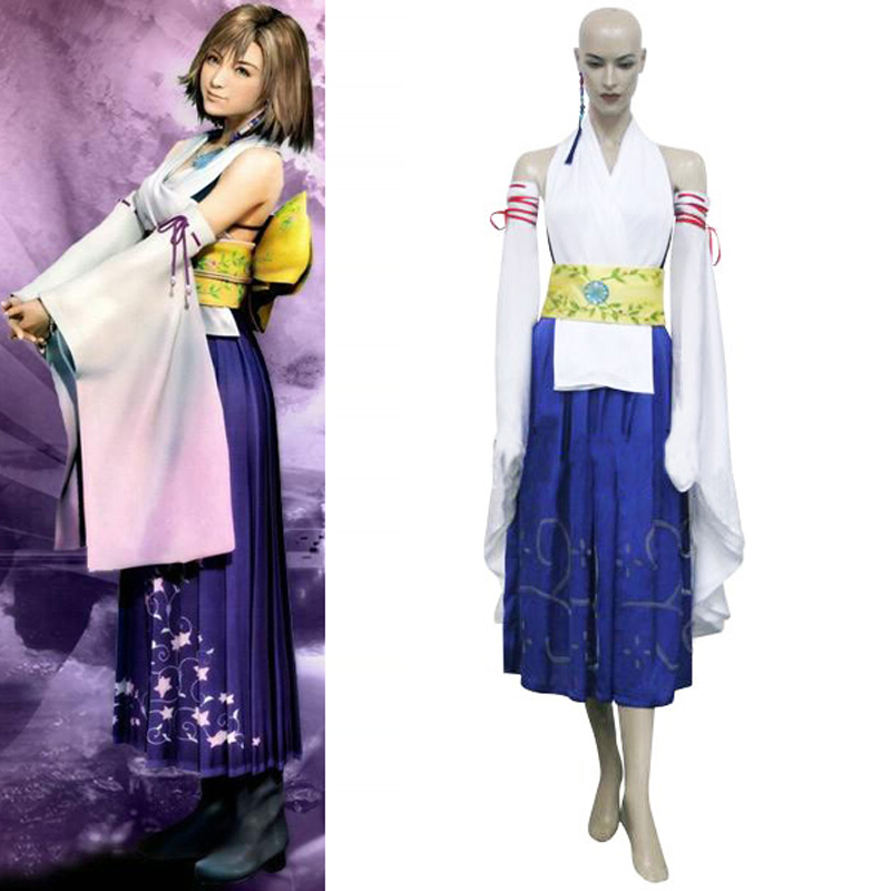 Free Shipping Final Fantasy X 10 Yuna Cosplay Uniform Dress Women Girls Halloween Costumes Custom-made Any Sizes цена