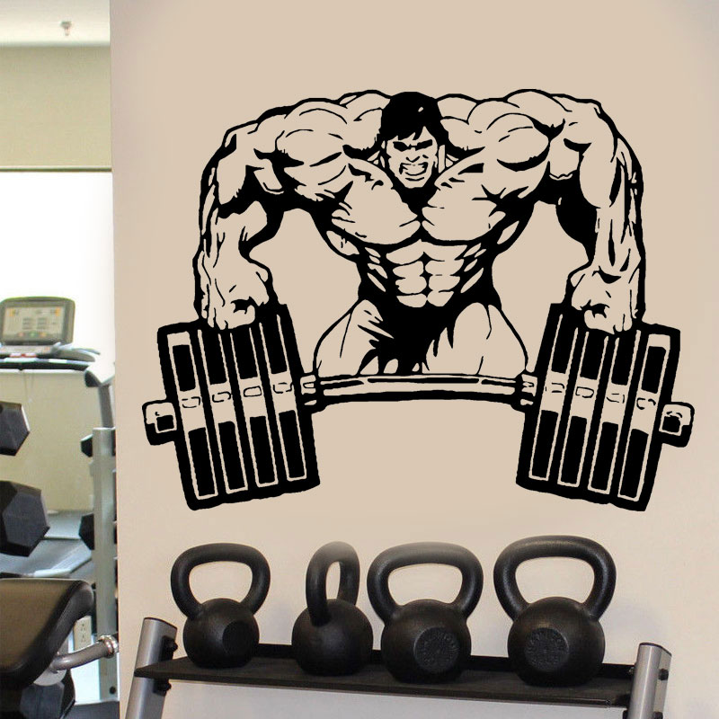 Wall Decal Room Sticker Gym Weights Bodybuilding Muscle Man Crossfit E655
