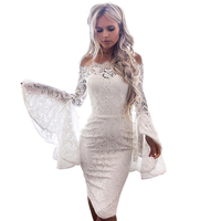 YJSFG HOUSE New Womens Lace Dresses Hollow Dress Elegant Weeding Off-Shoulder Bodycon Flare Long Sleeve Dresses Tunic Slash Neck