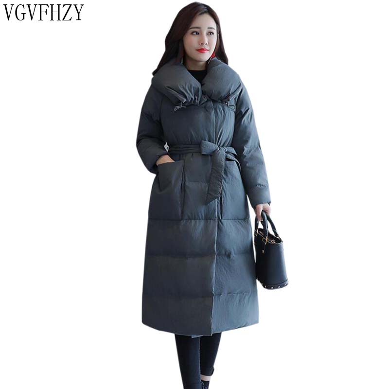 2018 new winter long down jacket big yards thick warm loose women European American style high-quality white duck down jacket