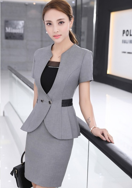Novelty Grey Slim Fashion Formal Blazer Suits With Tops And Skirt for Ladies Work Wear Business Women Blazers Beauty Salon Sets