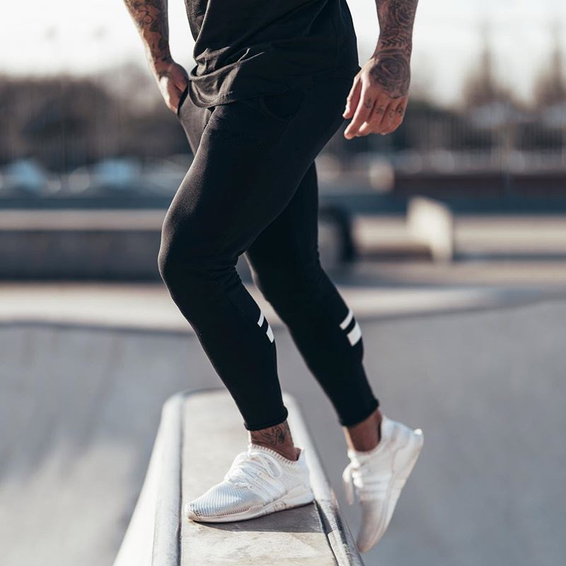 Image 3 - GYMOHYEAH Joggers Male Trousers Casual Pants Men Sweatpants Jogger Casual Elastic cotton GYMS Fitness Workout panTS black gray-in Skinny Pants from Men's Clothing