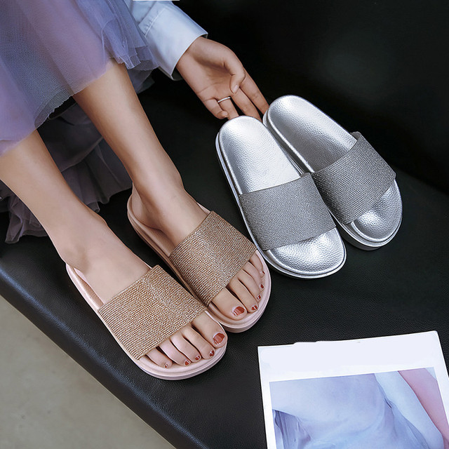 YMECHIC 2019 Small Size Crystal Gold Silver Flat Platform Beach Slippers  Summer Glitter Womens Shoes Slides Daily Flip Flops ed3b7b9c1101