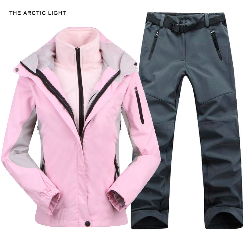 Outdoor Jacket&Pants Suit Hiking Camping Climbing Waterproof Windproof Thermal Thicken Coat And Trousers Set 2017 Winter Women