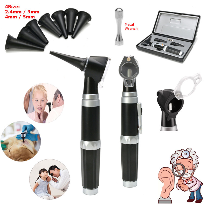 Baby Care Professional Diagnostic Otoscope Fiber Optic Medical Wide Field Ear Syringe Diagnostic For Kids Childern medical diagnostic penlight otoscope ear care magnifying lens clinical flashlight led light pen ear care tools