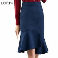 S 4XL High Waist Fishtail Skirt Women Plus Size Irregular Lady Office Work Skirts Female Elegant