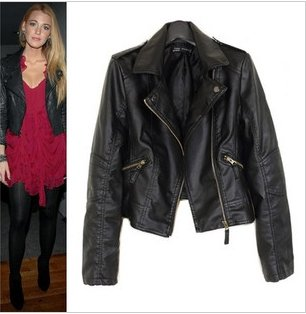 Black Moto Leather Jacket - Coat Nj