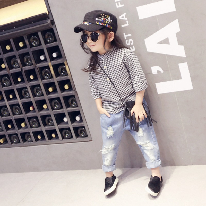 fcb6d94ae 2016 New Style Kids Jeans Boys Girls Trousers Autumn Fashion Designer  Children Denim Pants Casual Ripped Jeans For 2~7Years-in Jeans from Mother  & Kids on ...