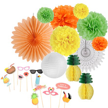 Summer Party Decoration Set Honeycomb Pineapple Centerpiece Tissue Pom Paper Fans Lantern Photo Booth Props Luau Hawaiian Decor