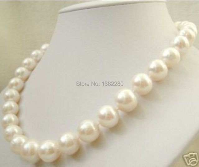 """Free shipping! 2015 fashion DIY jewelry  12mm South China Sea White Shell Pearl Necklace  18 """"   JT6768"""