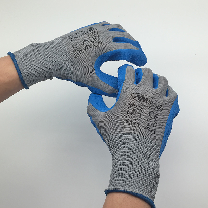 NMSafety 13 Gauge Knit Work Gloves,Textured Rubber Latex Coated For Construction Gloves