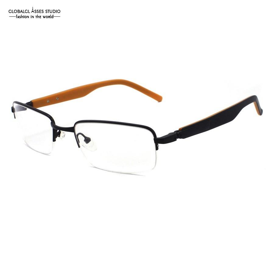 390a56c79 Colorful Half Rim Metal Eyeglasses Women Black Slim Frame Black on ...