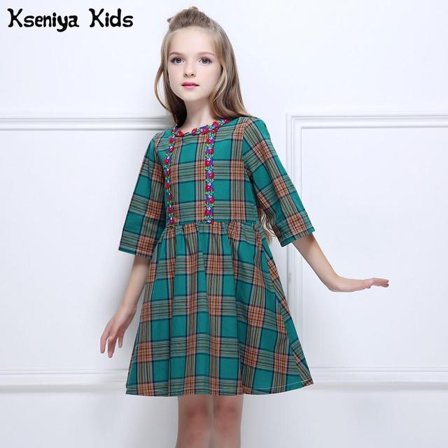 Kseniya Kids Girls Green Plaid Three Quarter Sleeve Embroidery Elegant Vintage Dresses Girl Princess Dress Palace Style Clothes