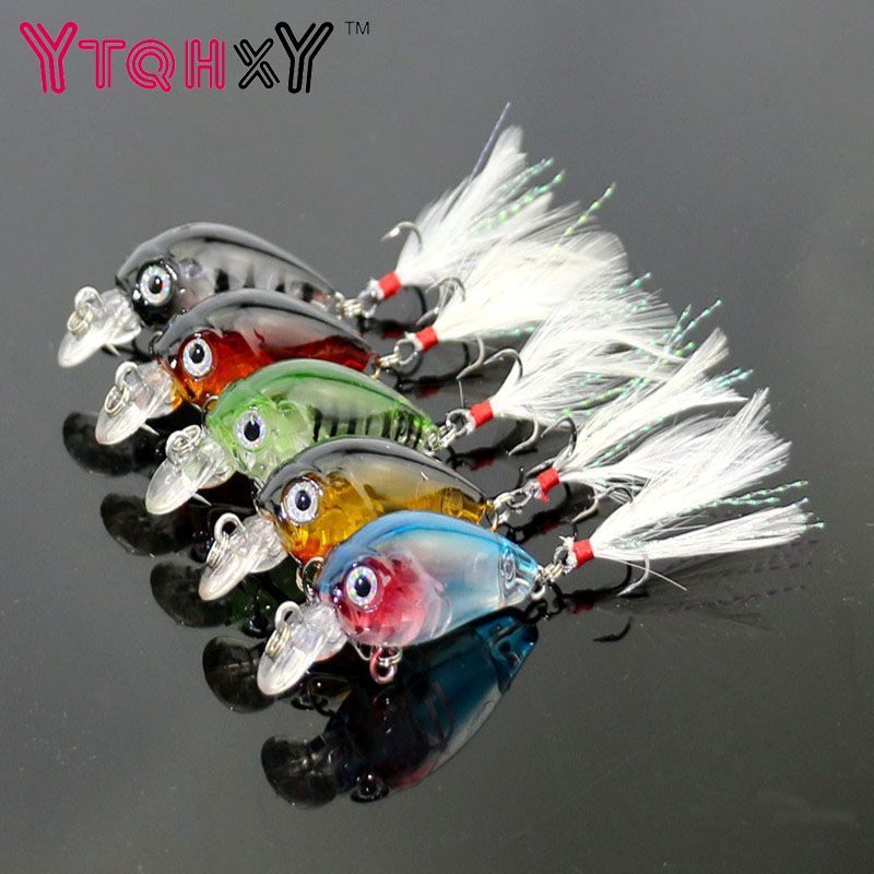 3.6cm 4g Fishing Lures Crank Baits Mini Crankbait 3D Fish Eye Artificial Lure Bait with Feather Lifelike Fake Lure YE-190