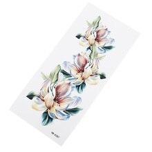 Водостойкие наклейки для татуировки с белыми цветами, влагоотводящие прочные женские элегантные наклейки на грудь с цветами, вечерние наклейки на тонкую татуировку