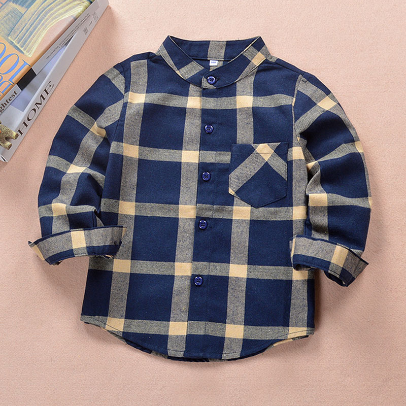 1a348d9cbf New 2019 Autumn Children Boys Shirts Fashion Plaid Mandarin Collar ...