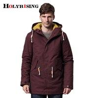 Holyrising Thick Men Parka Long Cap Zipper Green Navy Wine Cotton Down Jacket Winter Warm Coat