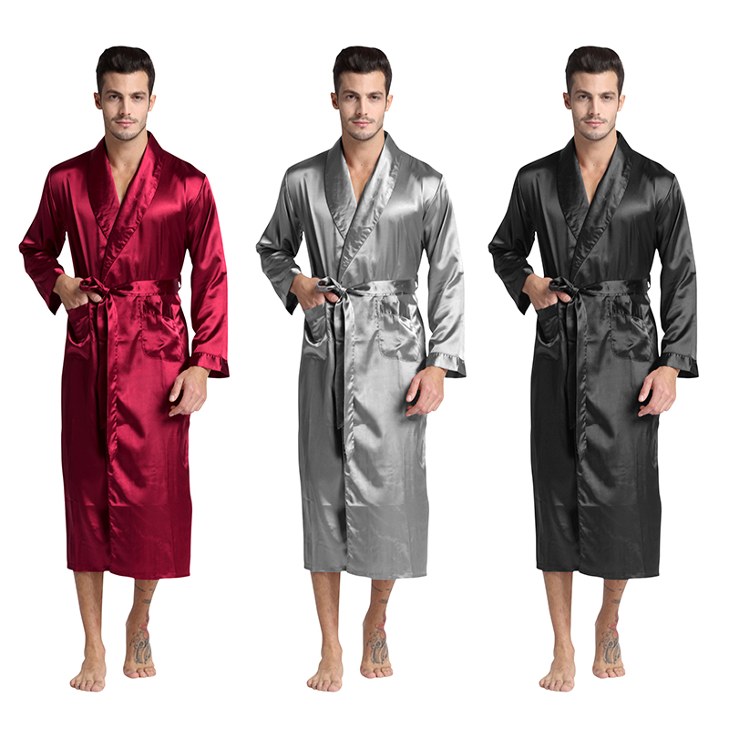 Tony&Candice Men's Silk Satin Bathrobe Robe Long Solid Silk Pajamas Men Silk Nightgown Sleepwear kimono homme Dressing Gown(China)