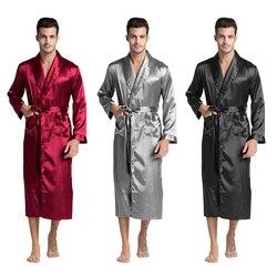 Tony & Candice, Мужской Шелковый Атласный халат, халат, длинная одноцветная Шелковая пижама, Мужская шелковая ночная рубашка, пижама, кимоно, мужск...