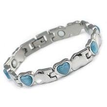 Las mujeres de acero inoxidable magnético salud azul, rosa, Blanco corazón simulado Piedra del ojo de gato pulsera CSB152