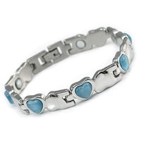 Women Stainless Steel Magnetic Health Blue, Pink, White Heart Simulated Cat Eye Stone Bracelet CSB152