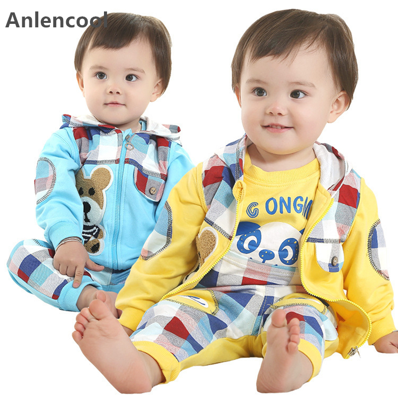 Anlencool 2017 Free shipping New Spring and Autumn leisure suit pose cute infant suit baby clothing newborn baby clothes set
