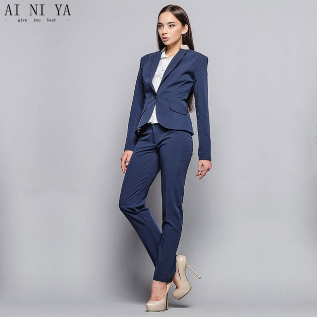 Jacket Pants Dark Blue Women Business Suits Blazer Formal 2 Piece Sets Female Trouser Suit Las