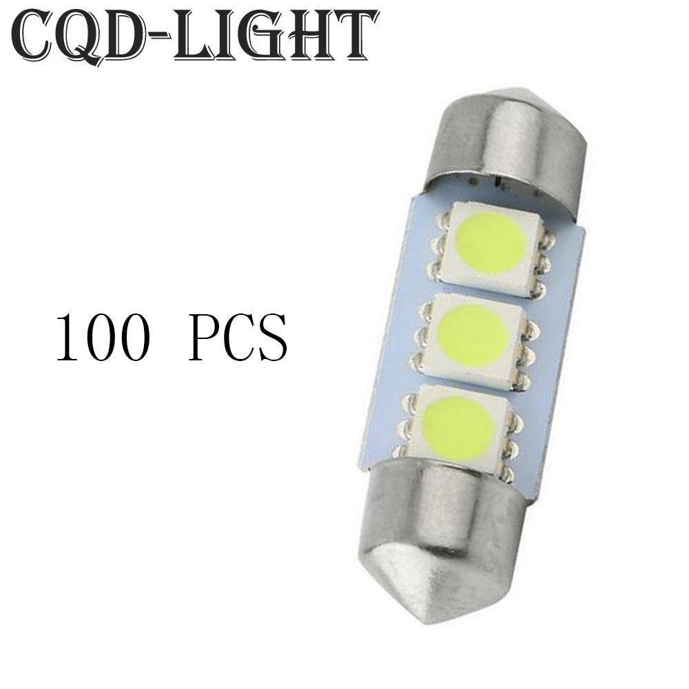 CQD-Light 100X  Cold White 3 SMD LED Festoon Interior Dome Light Lamp Bulb 31mm 36mm 39mm 41mm 12V C5W