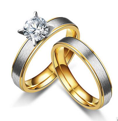 Japan And South Korea Style Gold Color Zirconia Couple Ring Fashion
