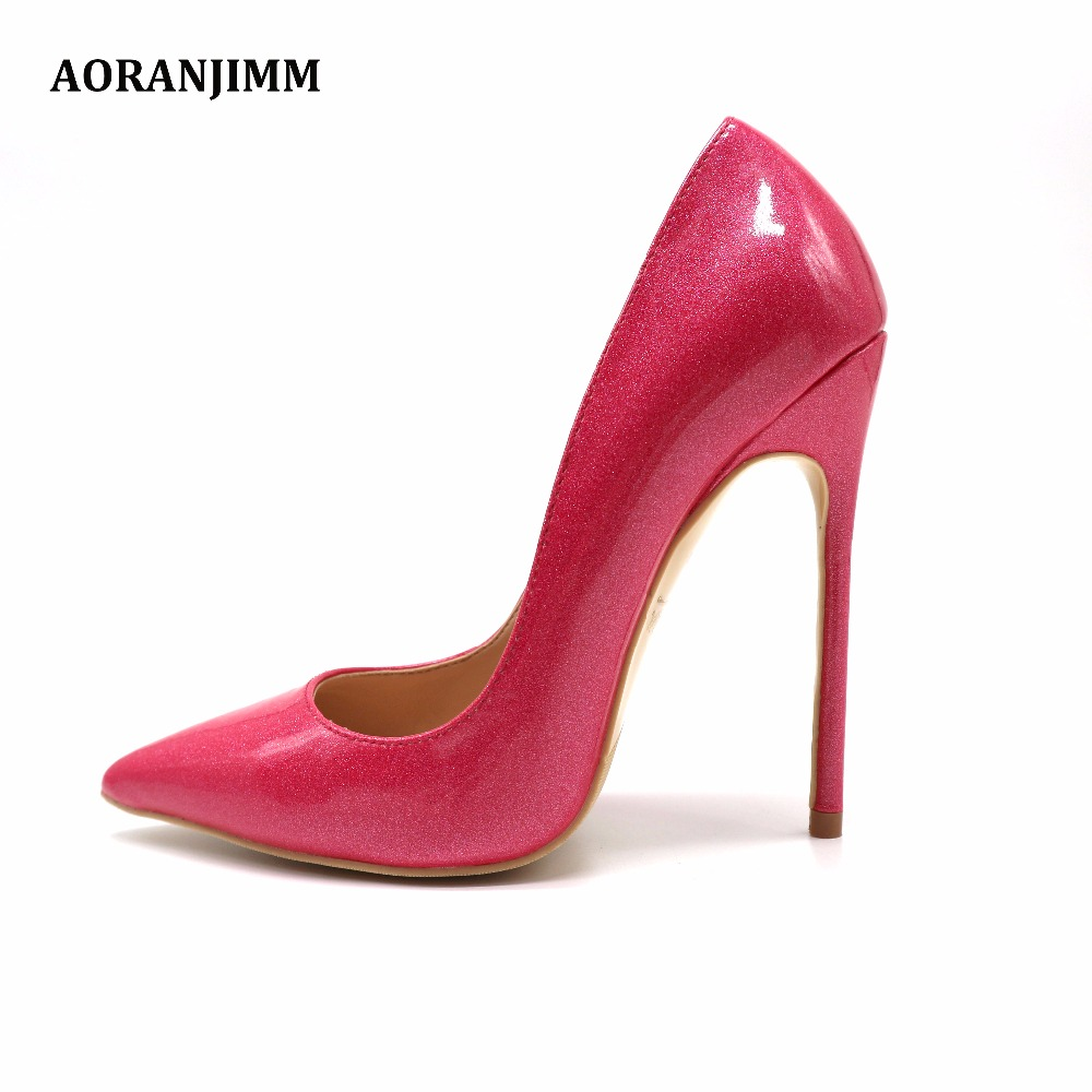 Free shipping real pic hot glitter peach patent real genuine leather sweet  women lady girl high heel shoes pump small big size e427c7c57fb7