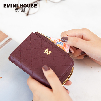 EMINI HOUSE Diamond Lattice Split Leather Mini Wallet Card Holder Organizer Women Wallet Ladies Purse Zipper Short Wallet Women Wallets