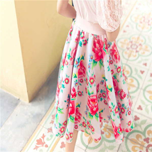 Completely new 2015 Kids Girls Print Floral Maxi Skirts Baby Girl Summer Cotton  UO98