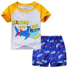 2016 new arrival kids clothes children's short sleeve shark suit boy children's wear short-sleeved virgin suit 1-7 years old