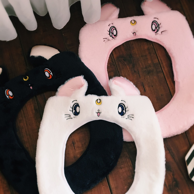 Anime Sailor Moon Luna Katze Gedruckt Plüsch Bad Wc Schüssel Kissen Sitz Winter Wärmer Matte Weiche Angefüllte Abdeckung Pad Waschbar Spielzeug