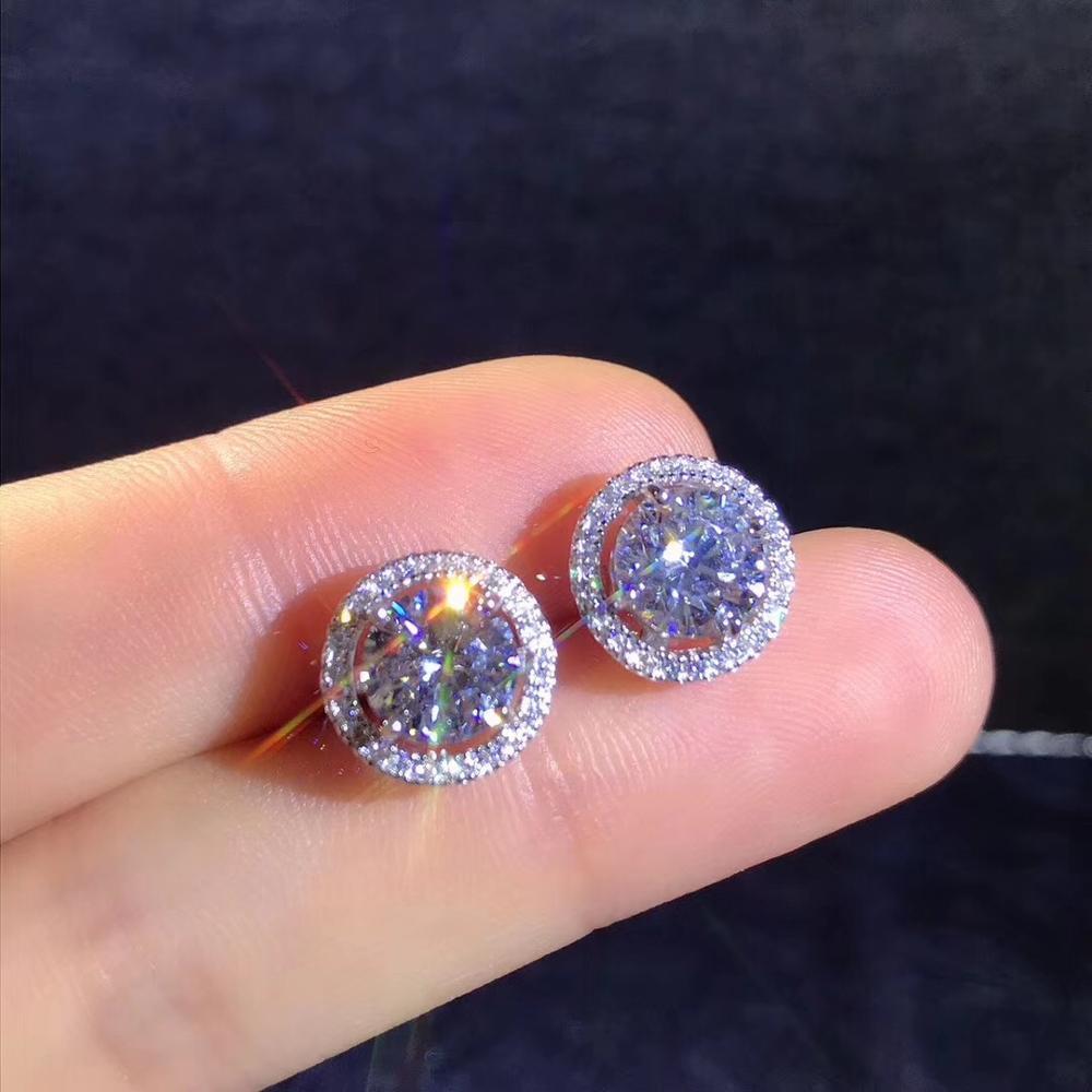 Poésie de magasin juif rond Moissanite coupe Total 1.00ct Test de diamant passé Moissanite argent boucle d'oreille bijoux petite amie cadeau